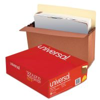 Universal 5 1/4 Inch Expansion File Pockets, Straight Tab, Letter, Redrope/Manila, 10/Box UNV15262