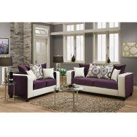 Flash Furniture Riverstone Implosion Purple Velvet Living Room Set FHFRS412005LSSETGG
