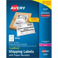 Avery Shipping Labels w/Paper Receipt, TrueBlock, 5 1/16 x 7 5/8, White, 50/Pack AVE5127