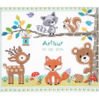 Forest Animals Birth Record On Aida Counted Cross Stitch Kit NOTM441037