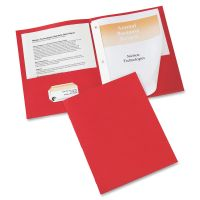 Avery Two-Pocket Folder with Prong Fasteners, 50-Sheet Capacity, Red, 25/Box AVE47979