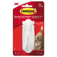 Command General Purpose Hooks, Large, 5lb Cap, White, 1 Hook & 2 Strips/Pack MMM17083ES