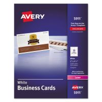 Avery Printable Microperf Business Cards, Laser, 2 x 3 1/2, White, Uncoated, 2500/Box AVE5911