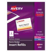 Avery Name Badge Insert Refills, Horizontal, 3 x 4, White, 300/Box AVE5392