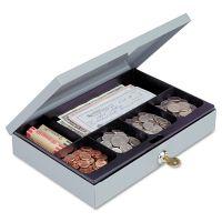 SteelMaster Heavy-Duty Steel Low-Profile Cash Box w/6 Compartments, Key Lock, Gray MMF221618001