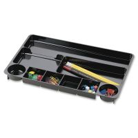 Officemate 9 Compartment Recycled Desk Drawer Organizer, Plastic, 14 x 9 x 1 1/8, Black OIC26032