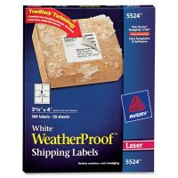 Avery WeatherProof Shipping Labels w/TrueBlock, Laser, White, 3 1/3 x 4, 300/Pack AVE5524