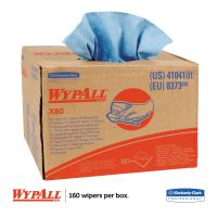 WypAll* X80 Cloths, BRAG Box, HYDROKNIT, Blue, 12 1/2 x 16 4/5, 160 Wipers/Carton KCC41041