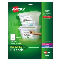 Avery Removable Multi-Use Labels, 8 1/2 x 11, White, 25/Pack AVE6465