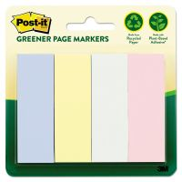Post-it Greener Page Markers Greener Page Flags, Pastel, 50 Strips/Pad, 4 Pads/Pack MMM6714RPA