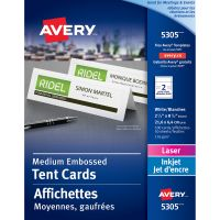 Avery Medium Embossed Tent Cards, White, 2 1/2 x 8 1/2, 2 Cards/Sheet, 100/Box AVE5305