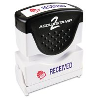 ACCUSTAMP2 Pre-Inked Shutter Stamp, Red/Blue, RECEIVED, 1 5/8 x 1/2 COS035537