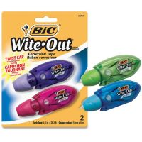 "BIC Wite-Out Mini Twist Correction Tape, Non-Refillable, 1/5"" x 314"", 2/Pack BICWOMTP21"