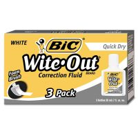 BIC Wite-Out Quick Dry Correction Fluid, 20 ml Bottle, White, 3/Pack BICWOFQD324
