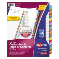 Avery Ready Index Table of Contents Dividers, Multicolor Tabs, 1-31, Letter AVE11846