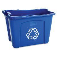 Rubbermaid Commercial Stacking Recycle Bin, Rectangular, Polyethylene, 14gal, Blue RCP571473BE