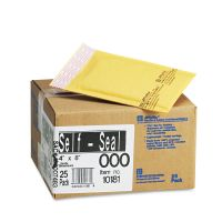 Sealed Air Jiffylite Self Seal Mailer, #000, 4 x 8, Golden Brown, 25/Carton SEL10181