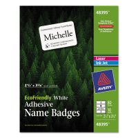 Avery EcoFriendly Adhesive Name Badge Labels, 2 1/3 x 3 3/8, White, 80/Pack AVE48395