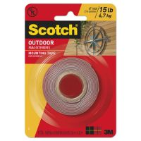 """Scotch Exterior Weather-Resistant Double-Sided Tape, 1"""" x 60"""", Gray MMM411P"""