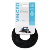"Velcro ONE-WRAP Hook & Loop Ties, 1/4"" x 8"", Black, 25/Pack VEK91141"