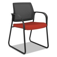 HON Ignition Series Mesh Back Guest Chair with Sled Base,Poppy Fabric Upholstery HONIB108CU42