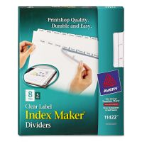 Avery Print & Apply Clear Label Dividers, 8-Tab, White Tab, Letter, 5 Sets AVE11422