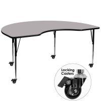 Flash Furniture Mobile Height Adjustable Kidney Shaped Activity Table  FHFXUA4896KIDNYGYTACASGG