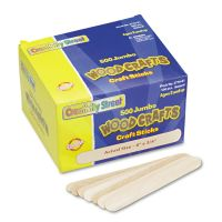 Chenille Kraft Natural Wood Craft Sticks, Jumbo Size, 6 x 3/4, Wood, Natural, 500/Box CKC377601