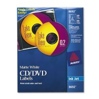 Avery Inkjet CD Labels, Matte White, 40/Pack AVE8692