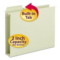 Smead Box Bottom Hanging Folders, Built-In Tabs, Letter, Moss Green SMD64201