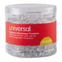 """Universal Clear Push Pins, Plastic, 3/8"""", 400/Pack UNV31306"""