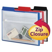 Smead Poly Project Organizer with Zip Pouch, Assorted, 3/Pack SMD89614