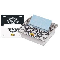 Post-it Pop-up Notes Clear Top Pop-up Note Dispenser, Brocade Insert, 3 x 3 Teal/Aqua Pad, White MMMDS330BWB