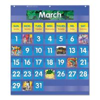 Scholastic Monthly Calendar Pocket Chart, 25 1/2 x 10 x 0.13, Blue/Clear SHS511479