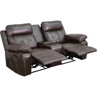 Flash Furniture Reel Comfort Series 2-Seat Reclining Brown Leather Theater Seating Unit with Straight Cup Holders FHFBT705302BRNGG