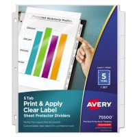 Avery Index Maker Print & Apply Clear Label Sheet Protector Dividers, 5-Tab, Letter AVE75500