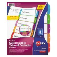Avery Ready Index Table of Contents Dividers, Multicolor Tabs, 1-5, Letter AVE11840