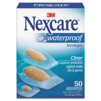 3M Nexcare Waterproof, Clear Bandages, Assorted Sizes, 50/Box MMM43250