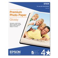 Epson Premium Photo Paper, 68 lbs., High-Gloss, 8-1/2 x 11, 50 Sheets/Pack EPSS041667