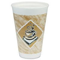 Dart Café G Hot/Cold Cups, Foam, 16 oz, White/Brown with Green Accents, 25/Pack DCC16X16GPK