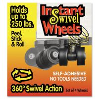 Master Caster Roll-Arounds Instant Swivel Wheels, Self-Adhesive, Black, 4/Set MAS17240