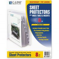 C-Line Top Loading Sheet Protectors with Index Tabs, Letter, Heavyweight, Clear Tabs, 8/Set CLI05587
