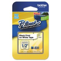 """Brother P-Touch M Series Tape Cartridge for P-Touch Labelers, 1/2""""w, Black on White BRTM231"""