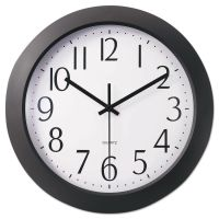 "Universal Whisper Quiet Clock, 12"", Black UNV10451"