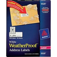 Avery WeatherProof Addess Labels w/TrueBlock, Laser, White, 1 x 2 5/8, 1500/Pack AVE5520