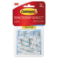 Command Clear Hooks & Strips, Plastic, Medium, 6 Hooks & 8 Strips/Pack MMM17065CLRVPES