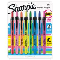Sharpie Accent Retractable Highlighters, Chisel Tip, Assorted Colors, 8/Set SAN28101