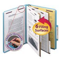 Smead Pressboard Classification Folders, Letter, Six-Section, Blue, 10/Box SMD14030