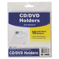 C-Line Self-Adhesive CD Holder, 5 1/3 x 5 2/3, 10/PK CLI70568