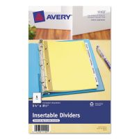 Avery Insertable Standard Tab Dividers, 5-Tab, Clear Tab, 8 1/2 x 5 1/2, 1 Set AVE11102
